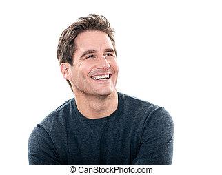 Pohledný muž se směje portrétu