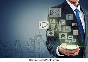 pohyblivý sdělování, novodobý technika, telefon