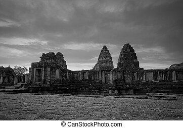 pohybovat se, dějinný, historický, stavení., architecture., čerň, ancient., chrám, thailand., starobylý, mezník, nakhon, park., neposkvrněný, phimai, destinations., poloha, klasický, ratchasima, krajina, khmer