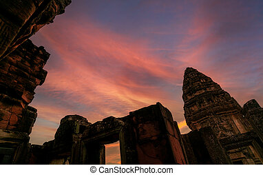 pohybovat se, nakhon, chrám, konzervativní, dějinný, thailand., khmer, ratchasima, západ slunce, zlatý, historický, ancient., poloha, mezník, architecture., destinations., stavení., klasický, sky., starobylý, phimai, sad
