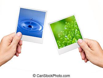 Pojem o životním prostředí, ruce držící přírodní vodu a rostlinu