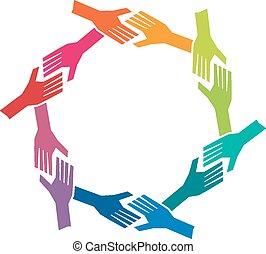 pojem, skupina, ach, národ, kolektivní práce, ruce, circle.