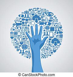 pojem, střední jakost, strom, rukopis, společenský, přenosové články