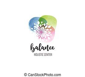 pojem, wellness, jóga, -, barva vodová, lék, vektor, ikona, emblém, alternativa, rozjímání, zen