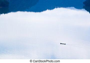 pokojný, rybář, jezero, ráno