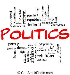 Politika je zamračená povaha v červených písmenech