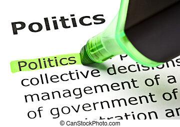 """""""Politika je zvýrazněna v zeleném"""
