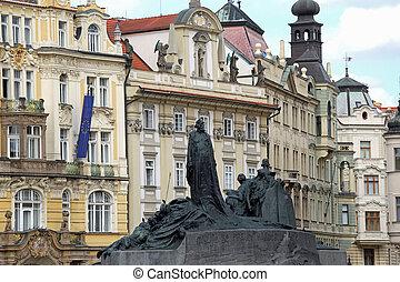 pomník, čech, praha, leden, republika, hus