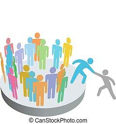 Pomocník pomáhá lidem přistupovat do skupiny