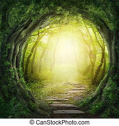 ponurý, les, cesta