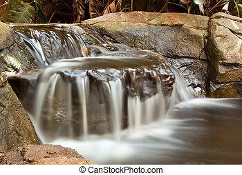 potok, dlouho, vodopád, malý, krajina, odhalení