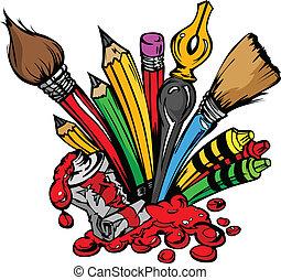 potraviny, vektor, umění, karikatura