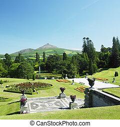 powerscourt, hora, bochník, zahrada, cukr, hrabství, grafické pozadí, wicklow, irsko