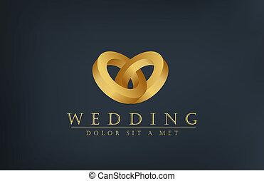 pozvání, kruhy, tvořivý, design, svatba, emblém, template., karta