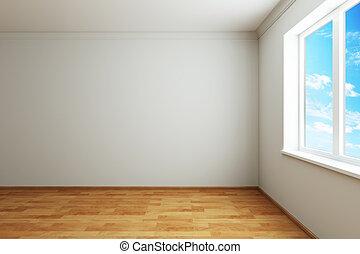 Prázdný nový pokoj s oknem