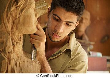 pracovní, umělec, mládě, řemeslník, skulptura, sochař, sculpting