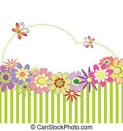 pramen, barvitý, léto, květinový