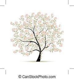 pramen, design, strom, tvůj, růže