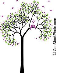 pramen, ptáci, vektor, láska, strom