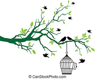 pramen, strom, ptáci, klec