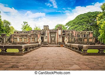 prasat, phimai, nakhon, ratchasima, dějinný, věž, provincie, hin