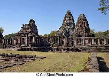 prasat, sever východní, cíl, hin, phimai, ratchasima, cestování, historický, thajsko, nakorn