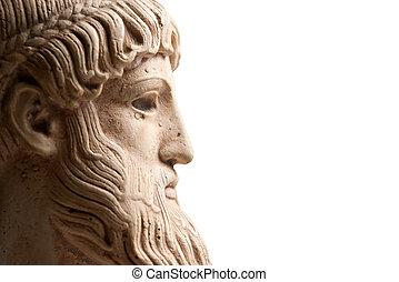profil, řečtina, vodorovný, bůh