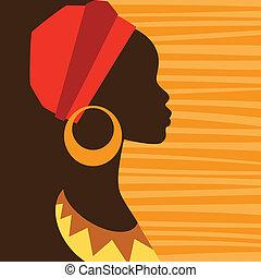 profil, earrings., děvče, silueta, afričan