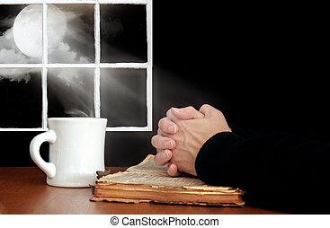 prosit, bible, dávný, ruce