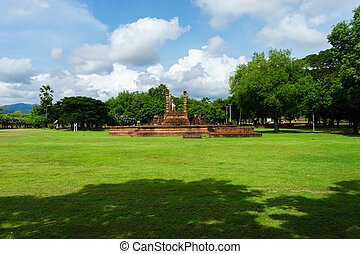 provincie, sad, poloha., dějinný, thailand., historický, sukhothai, buddha, wat