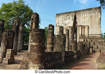 provincie, srichum, sad, poloha., dějinný, thailand., historický, sukhothai, buddha, wat