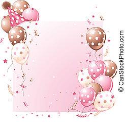 Růžová narozeninová karta