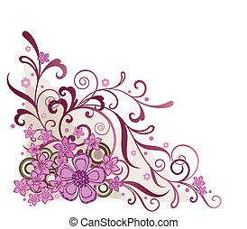 Růžový rohový prvek