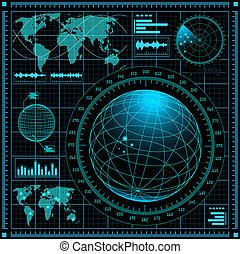 radar, chránit, mapa světa