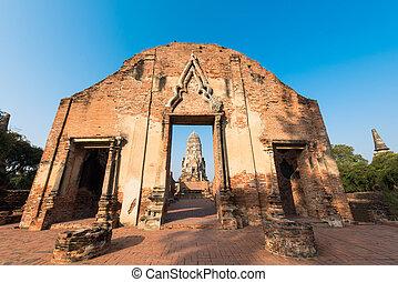 ratchaburana, starobylý, buddhista chrám, sad, historický, thajsko, wat, ayutthaya