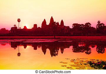 reap., kambodža, angkor, siem, wat, východ slunce