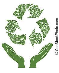 recyklace, firma, přes, rukopis
