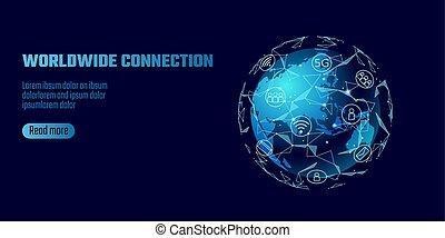render, bod, souhrnný, poly, hlína, technika, světadíl, informační síť, proložit, asie, polygonal, bučet, světový, mapa, výměna, business., ilustrace, connection., dat, společnost, řádka, oběžnice, vektor