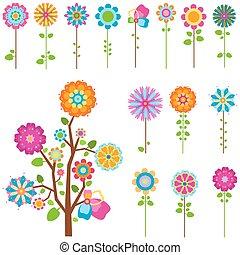 Retro květiny nastaveny