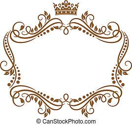 Retro rám s královskou korunou a květinami