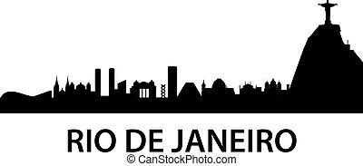 rio, městská silueta, k, janeiro