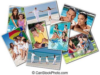 rodina, i kdy, sad, otec, matka, domů, pláž, děti, šťastný
