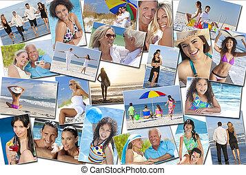 rodina, národ, muži, prázdniny, dovolená, pláž, děti, ženy