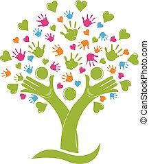rodina, ruce, strom, znak, herce, emblém