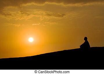 rozjímání, západ slunce, pod