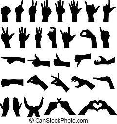 Ruční gesta siluety
