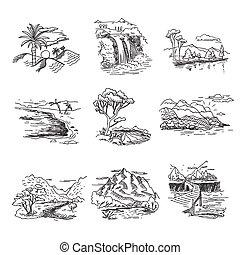 Ručně nakreslený nákres na nákresy přírody, ilustrace s lesními vodopády