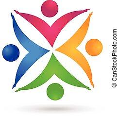 ruce, barvitý, národ, kolektivní práce, emblém