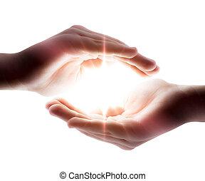 ruce, lehký, jeho