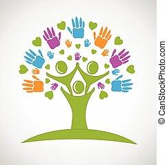 ruce, národ, strom, emblém, herce